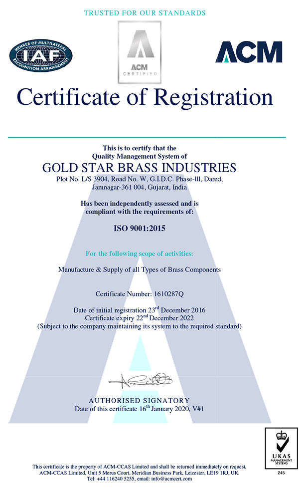 ISO Certificate - Gold Star Brass Industries